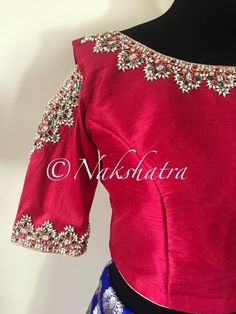 Beautiful pink color raw silk crop top with guttapusalu hand embroidery work. Crop top with cold shoulder. 12 October 2017