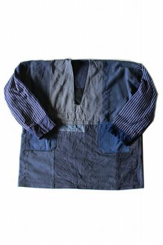Patchwork smock shirt by vintage workwear/blue cotton/pullover/patched/hand stitched/288