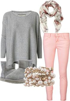 Cute winter outfit, minus the ugg boots but with cream coloured boots