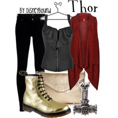 HOT!! If Chris Hemsworth isn't enough of a hunky Norse God for you, this sexy, Thor-inspired Disneybound outfit should be!! The colors are on-point with Thor's superhero outfit from the movie, and the outfit itself just oozes sexiness and confidence. ♥