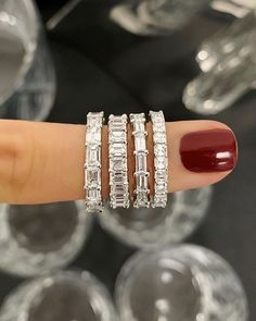 Custom Wedding Rings Petite Asscher Cut Diamond Eternity Band for stacking or a wedding band. 25 Diamonds weighing 2 carats total (based on finger size Diamonds: each, G/H color, VS clarity. Custom made to order. Eternity Ring Diamond, Diamond Wedding Rings, Bridal Rings, Eternity Bands, Emerald Cut Wedding Band, Solitaire Diamond, Gold Wedding, Emerald Band, Emerald Cut Engagement