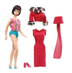 he My Favorite Barbie American Girl Reproduction was released in June 2010. The Barbie doll is a reproduction of the 1965 American Girl Barbie. In addition to the American Girl's original One piece Turquoise Striped Swimsuit and Turquoise Open Toe Heel shoes, this My Favorite Barbie also includes a reissue of the ensemble Matinee Fashion #1640 (1965).