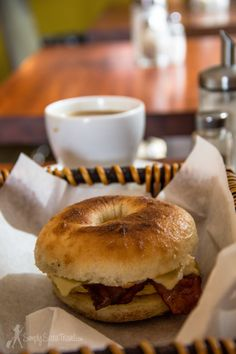 A happy moment for this Jersey girl - getting acquainted with a bagel breakfast sandwich of bacon, egg, and cheese at Bagelmama, Krakow.