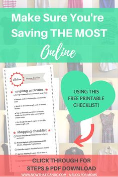 This blogger gives examples of how to never pay full price for anything online. Learn how using the steps all together can save you the most! Use the checklist for a while until they become second nature. Online may become your new favorite way to shop! // Mom tips and tricks // Mama fashion // Style // Online Stores // Deals // Budget // Strategies // Discounts // Free PDF Printable Checklist