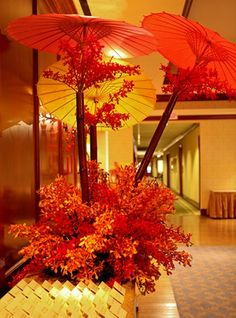 """Outdoor metal pipes to hold parasols for a steam punky """"wow"""" piece Asian Wedding Themes, Asian Party Themes, Chinese Wedding Decor, Chinese New Year Decorations, New Years Decorations, Asian Inspired Wedding, Japanese Theme Parties, Japanese Party, Japanese Wedding"""