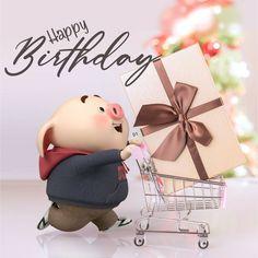 Happy Birthday Funny Dog, Happy Birthday Wishes Cards, Happy Birthday Celebration, Pig Birthday, Happy Birthday Images, Cute Bunny Cartoon, Pig Wallpaper, Cute Piglets, Pig Illustration
