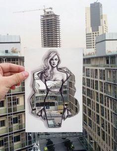 Ilustrador usa nuvens, prédios e elementos da natureza para dar vida aos seus desenhos