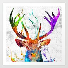 Red+Deer+Watercolor+Grunge+Art+Print+by+Daniel+Janda+-+$22.88