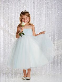 Alfred Angelo #Cinderella Style 729: tea length glitter princess flower girl dress
