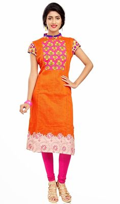 Orange chanderi cotton silk kurti is a straight cut kurti. Kurti is beautified with contrast pink floral patch in neckline, sleeves and stand collar and silk thread embroidered patch in hemline which gives you an alluring look. #ClassicalTunic