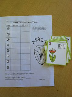 "In the garden math center fun-this can be a read the room activity.  ""Plant"" your cards.  The students find them, count the tally marks, write the number and tell what 10 more would be."