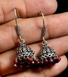 Jhumki Handmade Hook 925 Sterling Silver Plated Designer Earrings Jewelry KED127 #krsnajewels #DropDangle