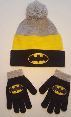 184b9bee411 Batman Snow Cap Beanie Winter Hat Boys DC Comics One Size with Gloves A-2