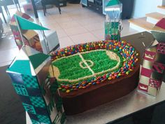 Still great seats available for Gryffindor v Slytherin! This is my quidditch stadium for my boy's 7th birthday. Home made towers, home baked cake. Labour of love!