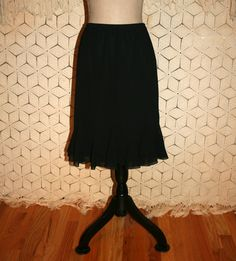 Black Chiffon Skirt Flared Skirt Black Midi Skirt by MagpieandOtis