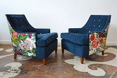 An Alabama client chose this mid-century pair from our adoption inventory. We reupholstered the pair in a navy solid on the front and Schumacher's Chiang Mae Dragon on the chair backs (and buttons).
