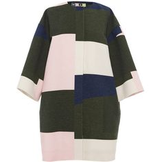 MSGM Color-Blocked Cotton Duster Coat ($357) ❤ liked on Polyvore featuring outerwear, coats, coats & jackets, jackets, colorblock coat, duster coat, color block coat, collarless coat and cotton coat