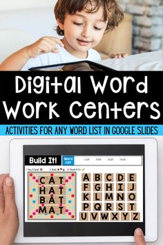 Looking for digital word work activities for your first grade, second grade, or kindergarten class? These digital word work activities work with any word list. Just type you high frequency words or spelling words in! Spelling Centers, Word Work Centers, Spelling Words, Sight Words, Literacy Centers, Word Work Games, Word Work Activities, Teaching Vocabulary, Teaching Phonics