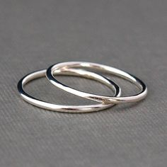 Two Plain Silver Rings , Smooth Silver Bands on Etsy, $16.00