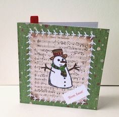 Christmas Card Pk of 5,'Vintage Stitches-Frosty the Snowman',Handmade Xmas Cards by Stephanie Short Stationery