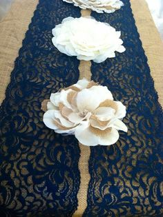 NAVY BLUE Lace/Table Runner/3ft -10ft long x 7in wide/Wedding Decor/Table…