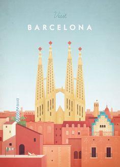 Barcelona Travel Poster Vintage Barcelona Travel Poster by Henry Rivers for TRAVEL POSTER Co. #Vintagetravel