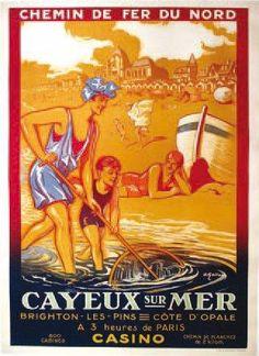 Vintage Railway Travel Poster - Cayeux sur Mer - Côte d'Opale - France - by A. Galland.