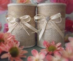 Burlap vases 2 upcycled tin can containers for country, rustic, barn wedding