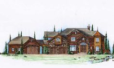 European Style House Plans - 4509 Square Foot Home, 2 Story, 5 Bedroom and 4 3 Bath, 4 Garage Stalls by Monster House Plans - Plan 53-318 LOVE