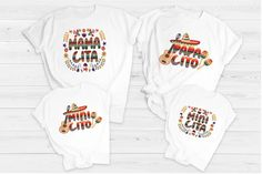 This personalized Family Mamacita, PapaCito, Minicito, Minicita shirts are perfect to wear during a Mexican Cruise, Photo Shoot, a party or just for fun. Your child will love being able to match with their family. 💥Note: This listing is for shirts ONLY. The Unisex 100% Polyester shirts do have a
