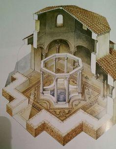 Reconstiution du ciborium du baptistere de Mariana en Corse, riche pavement en mosaique deb Ve