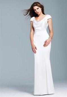 Capped Sleeve Vertical Buttons Beadwork Neckline Modest Prom Dress