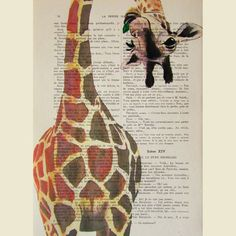 Giraffe with green leave- ORIGINAL ARTWORK Hand Painted Mixed Media on 1920 Parisien Magazine 'La Petit Illustration' by Coco De Paris $12