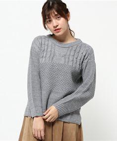 VIBGYOR Select Women(ヴィブジョー セレクト ウィメン)の切り替え模様編みバルキーニット(ニット/セーター) グレー