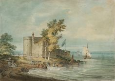 Joseph Mallord William Turner 'Cowes Castle, Isle of Wight', ?1796 -  Graphite and watercolour on paper -  Dimensions Support: 305 x 431 mm -  Collection -  Tate