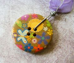 Flowers and Butterflies Painted Wooden Button by meiguidesigns, $9.90