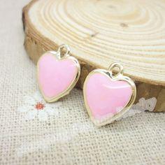Esmalte liga banhado a ouro jóias em forma de coração pingentes encantos para pulseira DIY fazer jóias