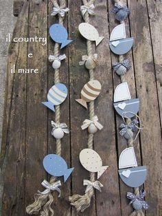 El país y el mar: creaciones marinos Summer Crafts, Diy Crafts For Kids, Brick Crafts, Deco Marine, Dollar Tree Decor, Fish Crafts, Country Paintings, Country Crafts, Wooden Decor