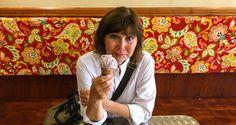 Sacramento's Cornflower Creamery / Karen McCann Enjoying Pride Confetti Ice Cream / Rich McCann  / EnjoyLivingAbroad.comPicture