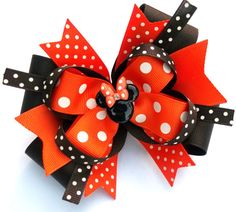 Minnie Mouse Head Fall Hair Bow - Brown And Orange