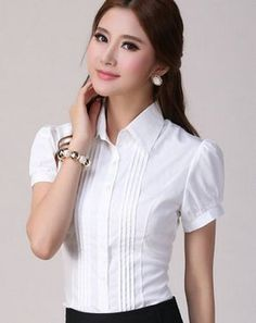 2017 Womens Summer Chiffon Blouses Shirts Plus Size Girls Short-Sleeve Patchwork Elegant Blouses Ladies White Striped Blusas Stylish Dresses For Girls, Modest Dresses, Sewing Blouses, Kurti Designs Party Wear, Chiffon Shirt, Chiffon Blouses, Stylish Tops, Plus Size Blouses, Womens Fashion For Work