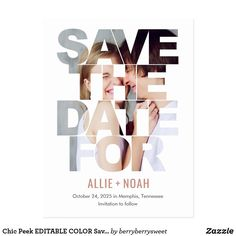 Modern Wedding Save The Dates, Unique Save The Dates, Save The Date Postcards, Save The Date Cards, Allie And Noah, Fathers Day Cards, Simple Weddings, Perfect Wedding, Elegant Wedding