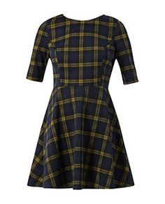Navy and Yellow 1/2 Sleeve Check Skater Dress   New Look £19.99. Wear it with print/pattern black tights and more than likely, my converses! baha