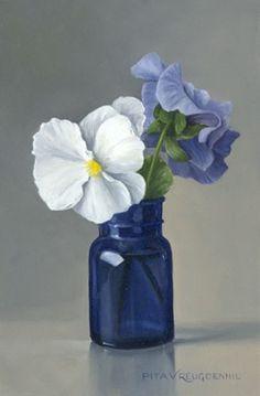 "Pita Vreugdenhil - ""Stilleven met wit viooltje in blauw flesje"" (Still life with white pansy in blue bottle) - Oil on panel"