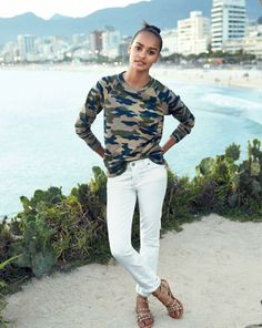 J.Crew camo sweatshirt and the stretch matchstick jean in white. To preorder call 800 261 7422 or email erica@jcrew.com.