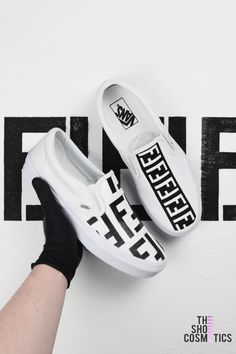 Black and white fendi vans slip on custom sneakers 4422dc896