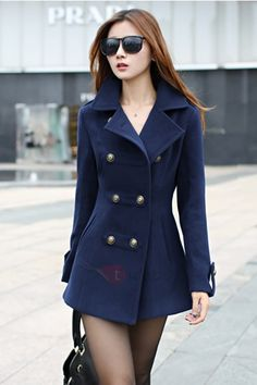Abrigo Azul Rojo Solapa Doble Botonadura Tweed Coat, Wool Trench Coat, Double Breasted Trench Coat, Cute Coats, Jackets For Women, Coats For Women, Clothes For Women, Mantel, Female Fashion