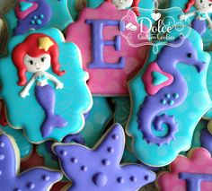 Mermaid Under The Sea Birthday Cookies - 1 Dozen Pcs) by Dolce Custom Cookies on Gourmly Baby 1st Birthday, Mermaid Birthday, First Birthday Parties, Birthday Ideas, Little Mermaid Cakes, The Little Mermaid, Yummy Cookies, Cake Cookies, Cupcakes