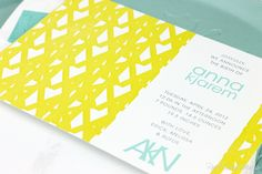Real Card Studio: Birth Announcement with Monogram Pattern in Yellow, Mint and Grey