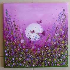 Pretty wildflowers and purple background with butterflies.Julie Ryder: Butterflies and a flower meadow. Dot Art Painting, Garden Painting, Acrylic Flowers, Painting Flowers, Butterfly Art, Button Art, Ink Illustrations, Mix Media, Mixed Media Canvas